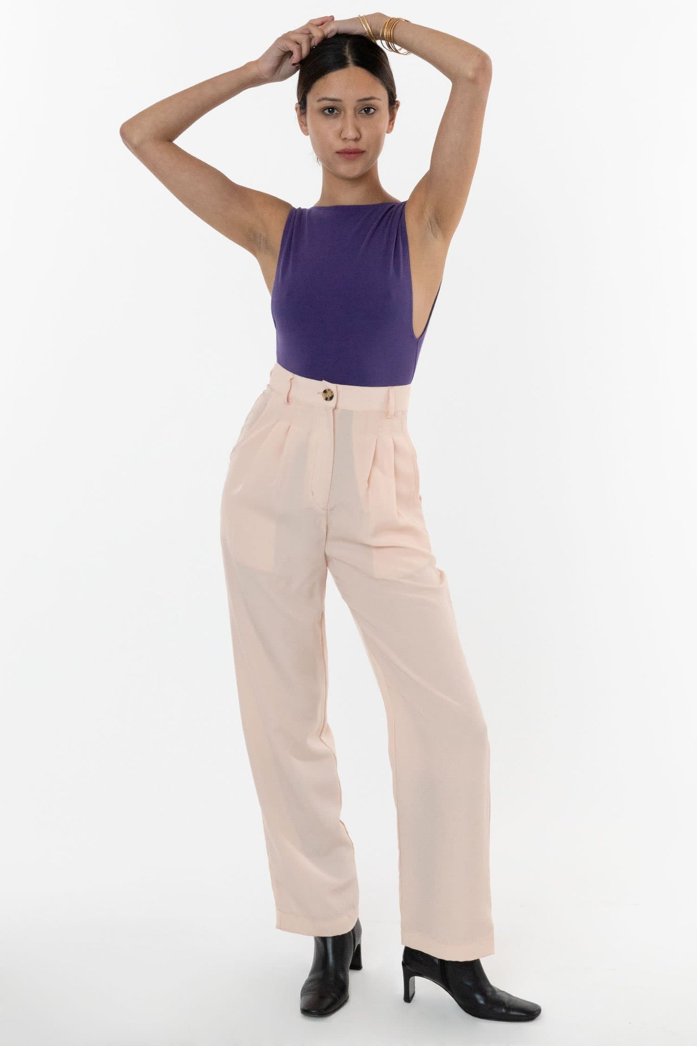 RSAPP350 - Poly Pleated Straight Leg Pant