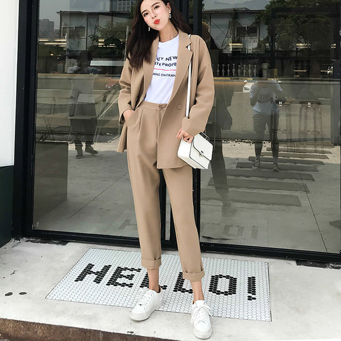 Solid Khaki Casual Women Pant Suit-Superwunsch