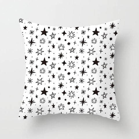 Geometric Black and White Polyester Throw Pillow Cushion Cover