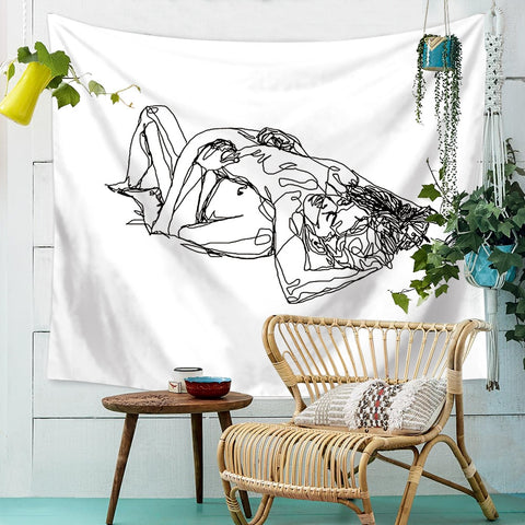 Sexy Couple Body Line Wall Art Hanging Tapestry