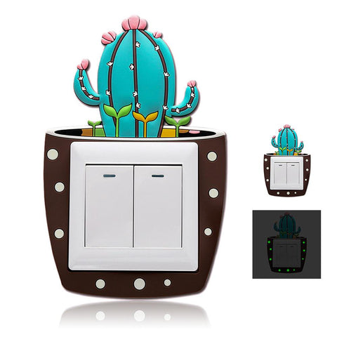 Cute Cartoon 3D Cactus Fluorescent Wall Silicone Switch Stickers