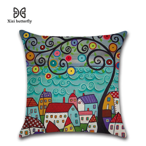 Hand-Painted Retro Rural Color Cities Cushion Cover