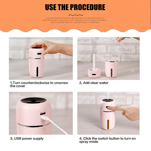 Image of 200ML Portable LED Air Humidifier Essential Oil Diffuser
