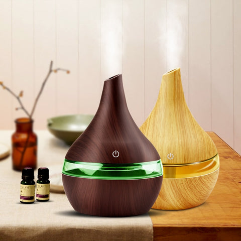Image of 300ML USB Electric Aroma Wood Ultrasonic Air Humidifier
