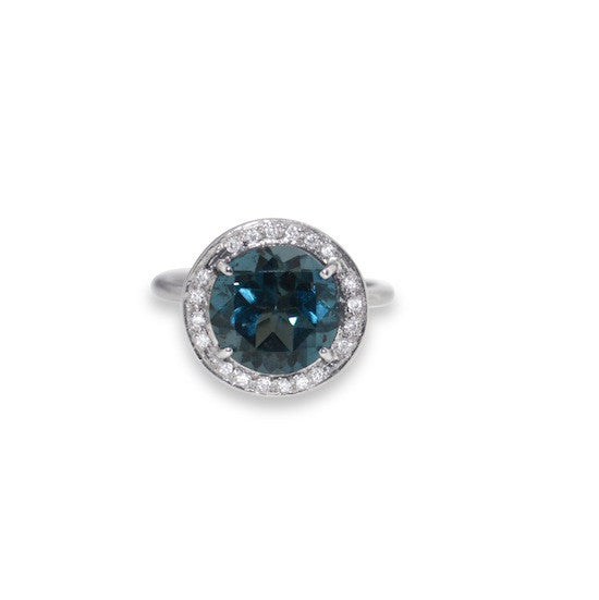 London blue topaz and diamond halo ring