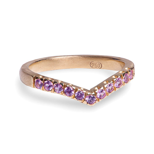 V Bent Band with Pink Sapphires