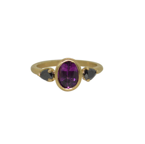 Purple garnet and black diamond Thea ring