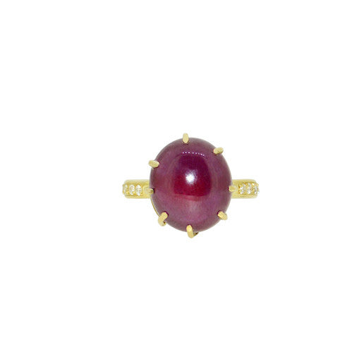 Ruby and diamond encase ring