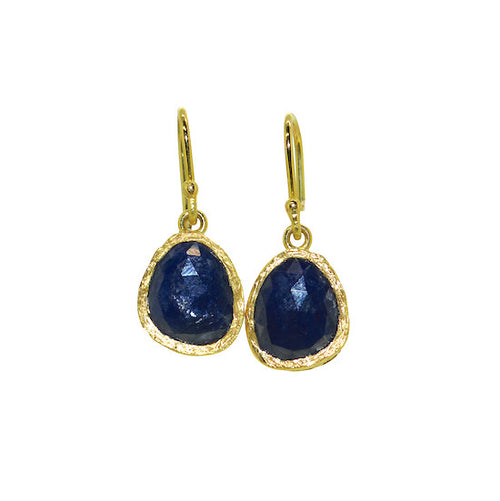 Rose cut sapphire slab earrings