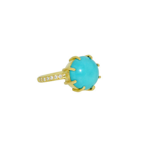 Sleeping beauty turquoise and diamond encase ring