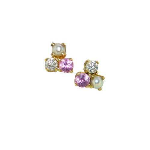 Pink sapphire, pearl and diamond jolie cluster studs
