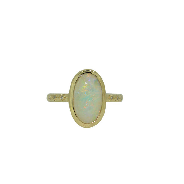 Opal and diamond twilight ring