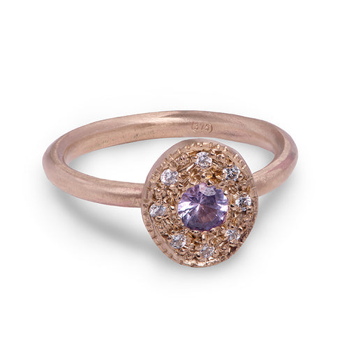 Lilac Sapphire and Diamond Pebble Ring