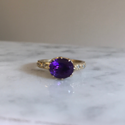 Amethyst and diamond crown ring