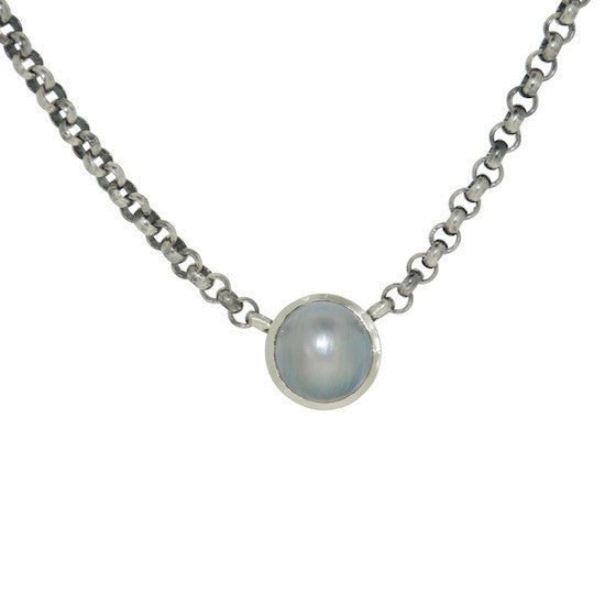 Black silver pearl moon necklace
