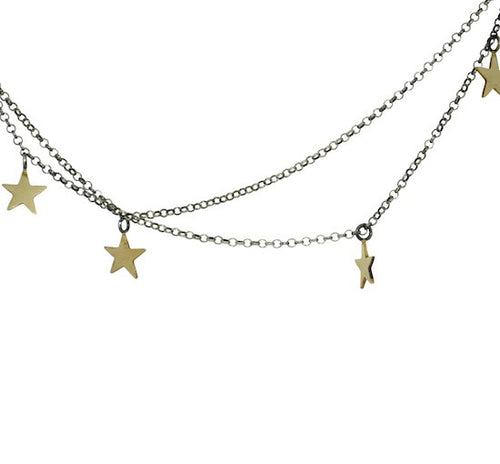 Black silver, gold star double choker necklace