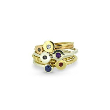 Amethyst mini dot stacking ring