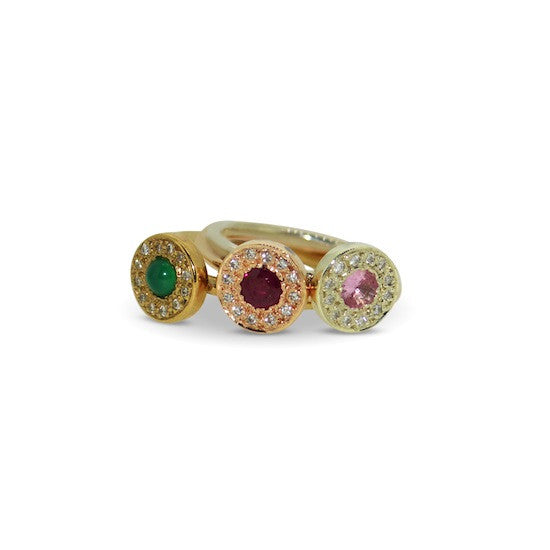 Pink sapphire and diamond disc ring