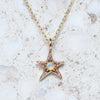 Opal and Pink Sapphire Wonky Star Necklace