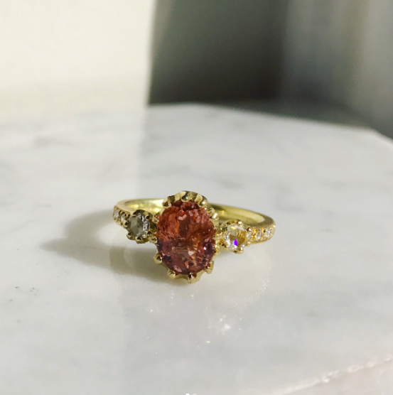 Peach tourmaline Lily ring