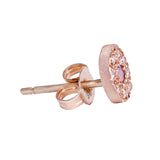 Pink sapphire and diamond pebble stud