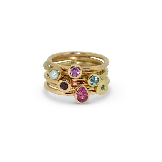 Australian sapphire mini dot stacking ring