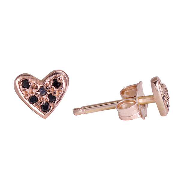Black diamond mini heart stud