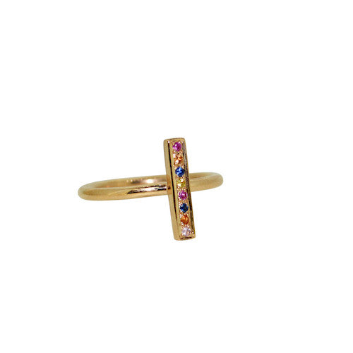 Multi colour sapphire lights ring