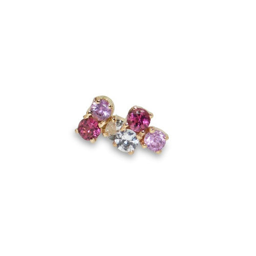 Pink Sapphire and Tourmaline Jolie Cluster Studs