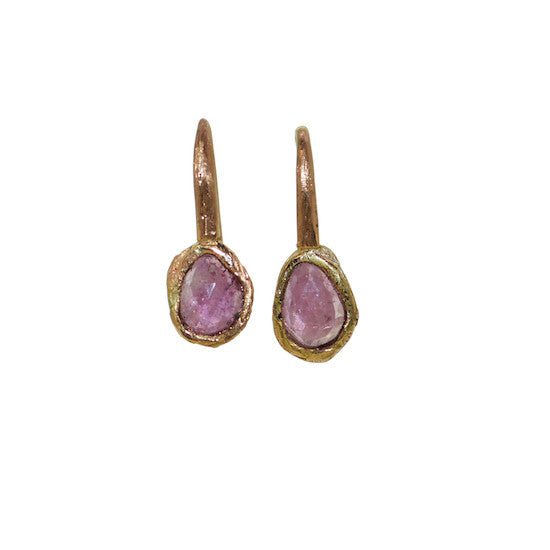 Pink sapphire rubble earrings