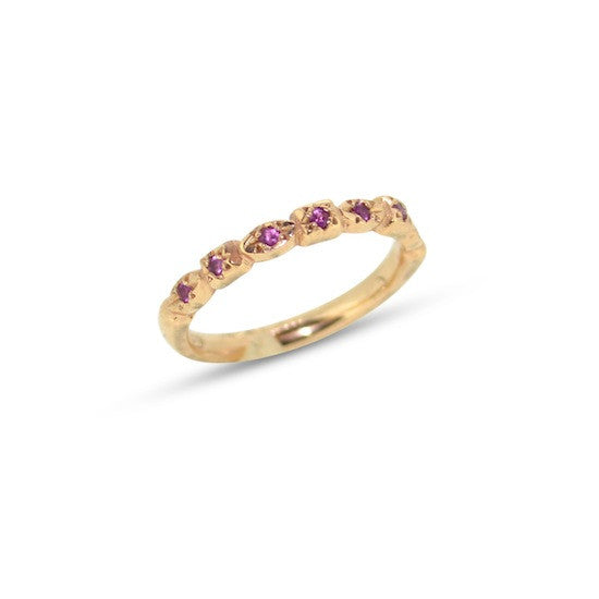 Pink sapphire studded Victorian band