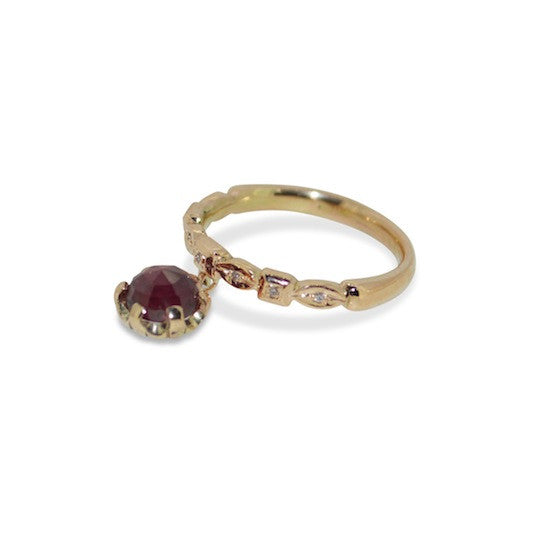 Ruby diamond charm ring