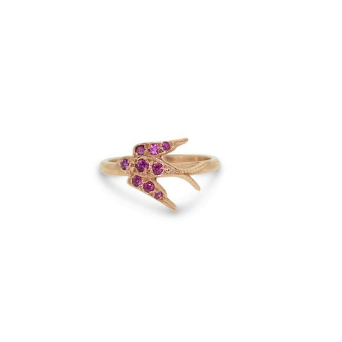 Rose Gold Ruby Swallow Ring