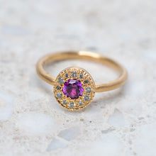 Magenta Sapphire and Diamond Pebble Ring
