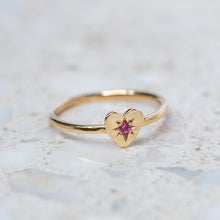 Pink Sapphire Mini Heart Stacking Ring