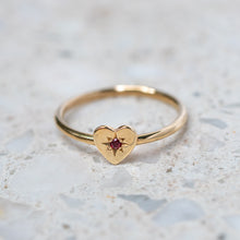 Ruby Mini Heart Stacking Ring