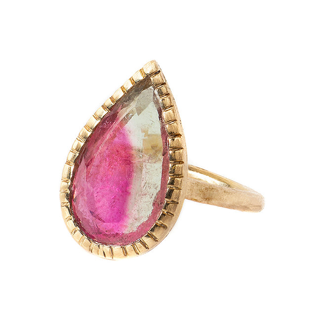 Watermelon tourmaline forest ring