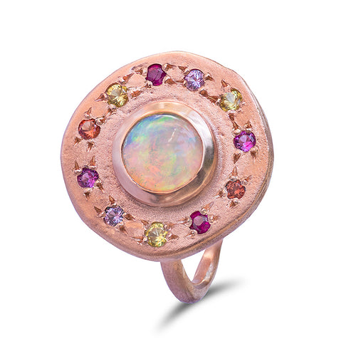 Opal and sapphire Roman pebble ring