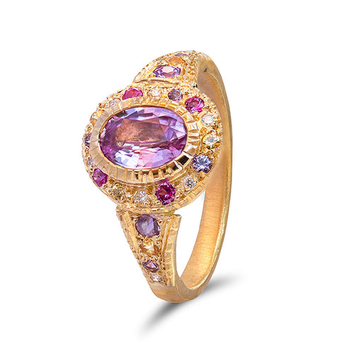 Shades of Pink Sapphire Roman Ring