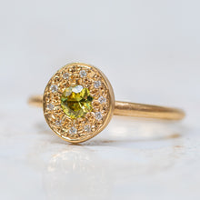 Light Green Sapphire and Diamond Pebble Ring