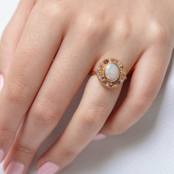 Opal and Pink Gem Pebble Ring