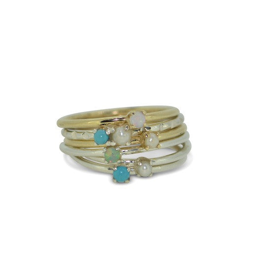 Claw set turquoise band