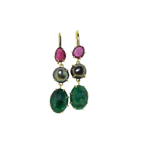 Tourmaline, pearl and emerald encase earrings