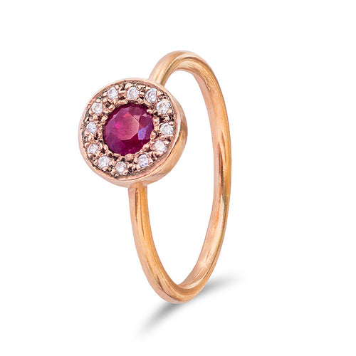 Ruby and Diamond Disc Ring