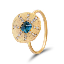 Teal Parti Sapphire Sun Ray Ring