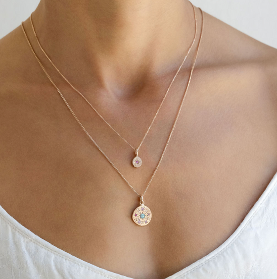 Opal Constellation Disc Necklace