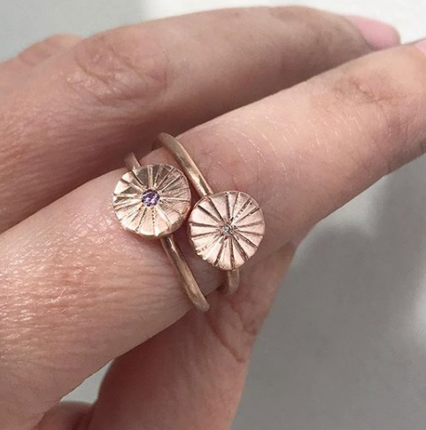 Sun Dial Ring Pink Sapphire