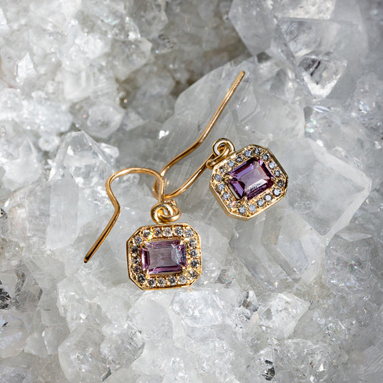 Lilac Spinel And Salt And Pepper Diamond Frame Earrings