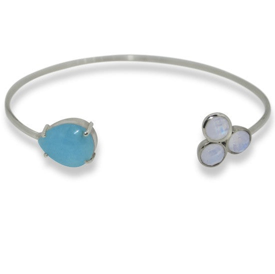 Aquamarine and Moonstone Open Bangle
