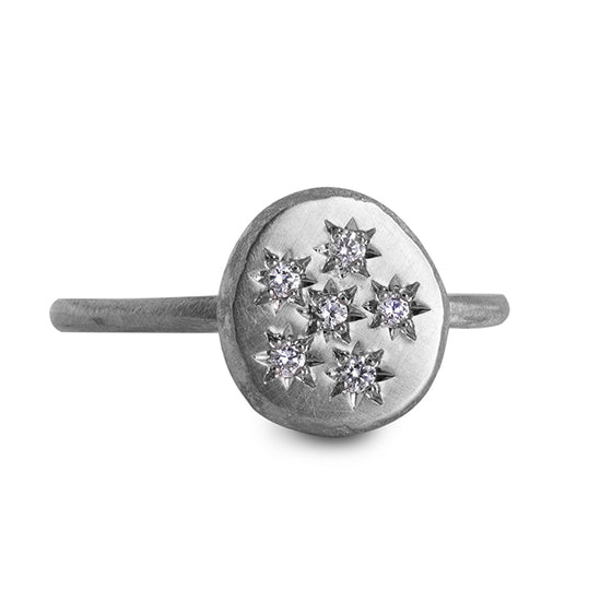 Diamond Starburst Pebble Ring